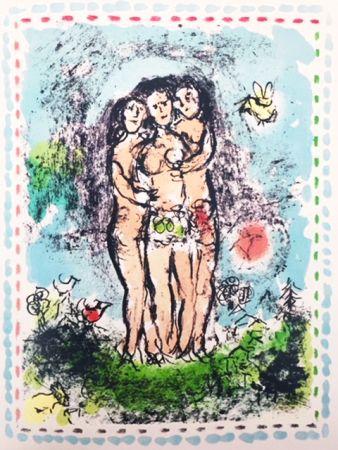 Lithograph Chagall - Les Trios Nus