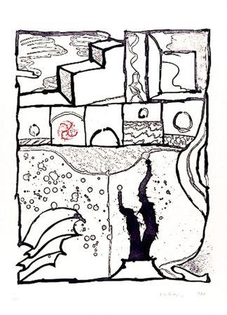 Etching Alechinsky - Les trois marches