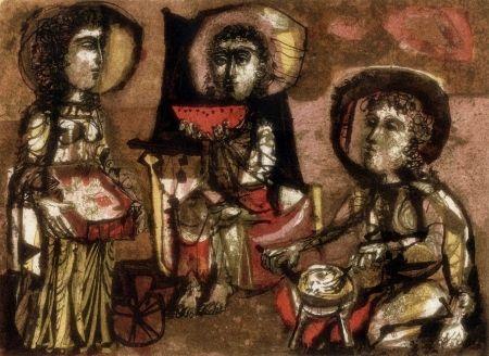 Lithograph Clavé - Les Trois Maries