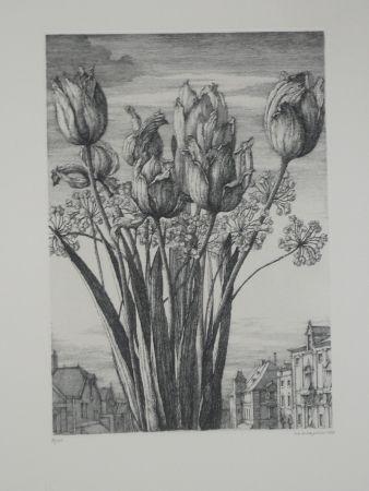 Engraving Desmazières - Les tulipes