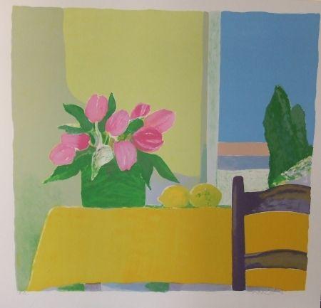 Lithograph Muhl - Les tulipes jaunes.
