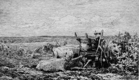 Engraving Daubigny - Les vendanges. (Souvenir du Morvan)