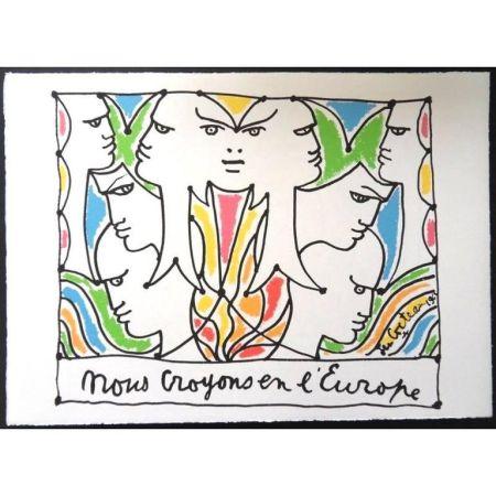 Lithograph Cocteau - Les Visage de l'Europe