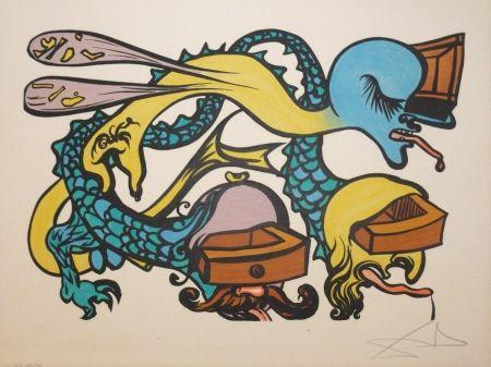 Lithograph Dali - Les vitraux - Dragon a tiroirs