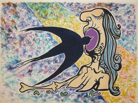 Lithograph Dali - Les vitraux -  hirondelle