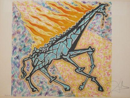 Lithograph Dali - Les vitraux - la girafe