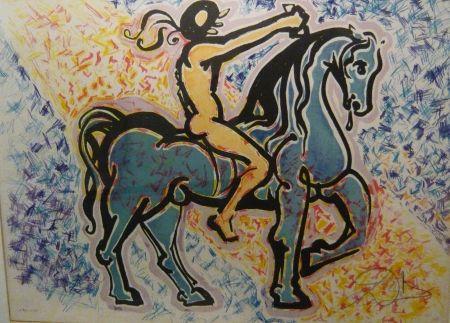 Lithograph Dali - Les vitraux - le cavalier
