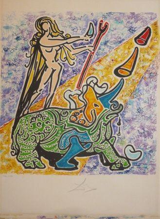 Lithograph Dali - Les vitraux - rhinoceros