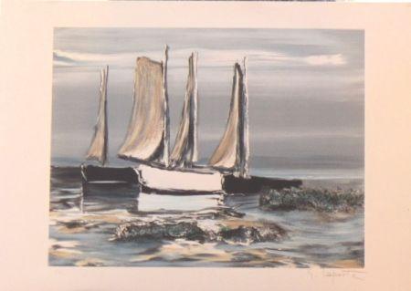 Lithograph Laporte - Les voiliers
