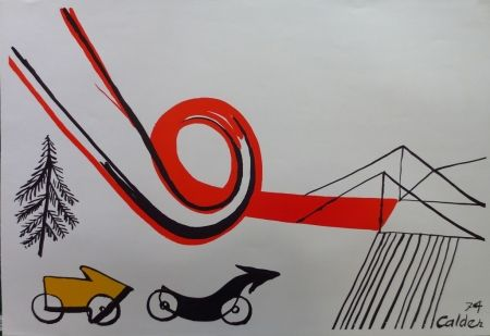 Lithograph Calder - Les voitures