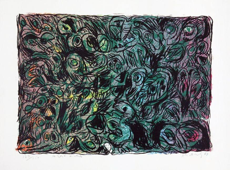 Lithograph Alechinsky - Les yeux ouverts