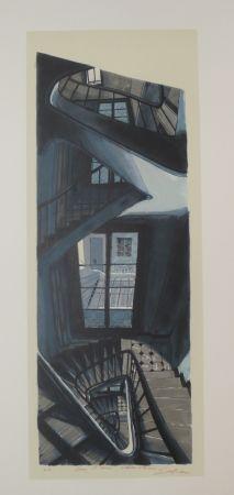 Lithograph Szafran - L'escalier de Saint germain