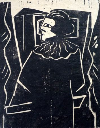Woodcut Achmann - Lesende am Fenster (Reading woman at the window)