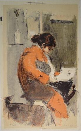Lithograph Falk - Lesende in rotem Kimono