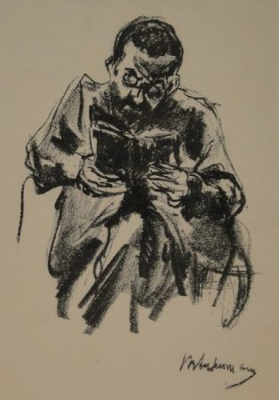 Lithograph Liebermann - Lesender Mann (Lesender Jude)