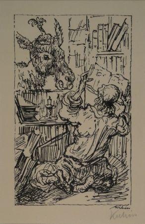 Lithograph Kubin - Lesender und Esel