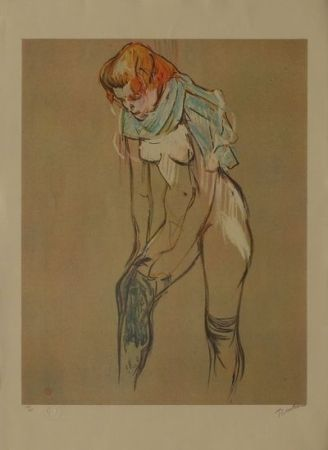 Lithograph Toulouse-Lautrec - L'Essayage des bas I