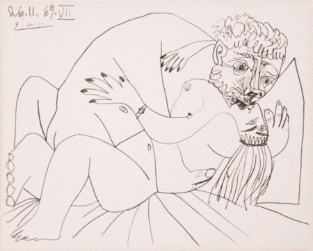 Lithograph Picasso - L'etreinte Vii