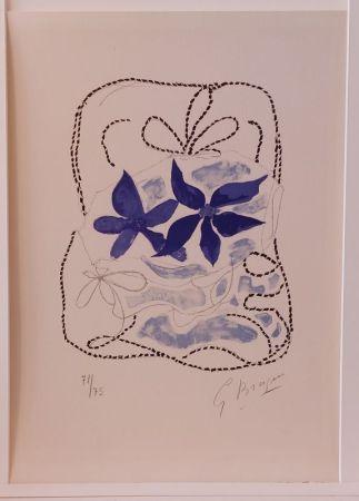 Lithograph Braque - Lettera Amorosa : Les deux iris bleus