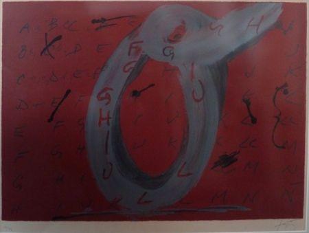Lithograph Tàpies - Lettre O