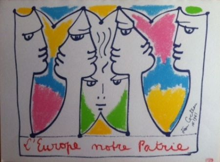 Lithograph Cocteau - L'Europe