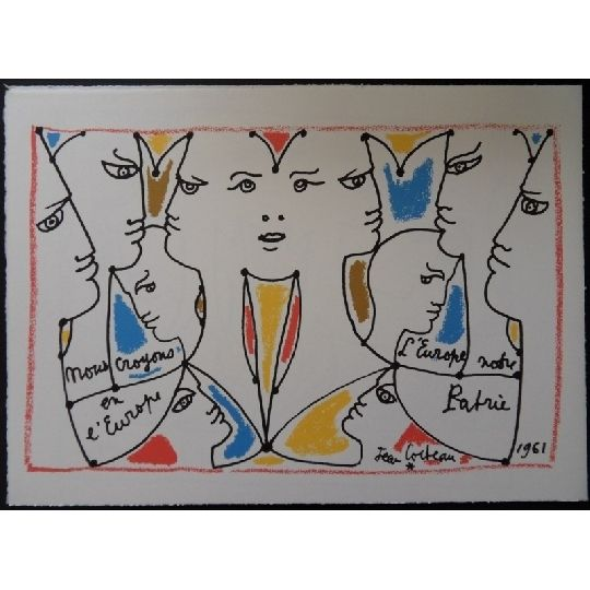 Lithograph Cocteau - L'europe multicolore