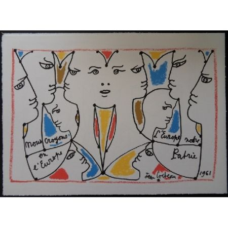 Lithograph Cocteau - L'Europe multicolore