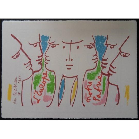 Lithograph Cocteau - L'Europe notre patrie 2