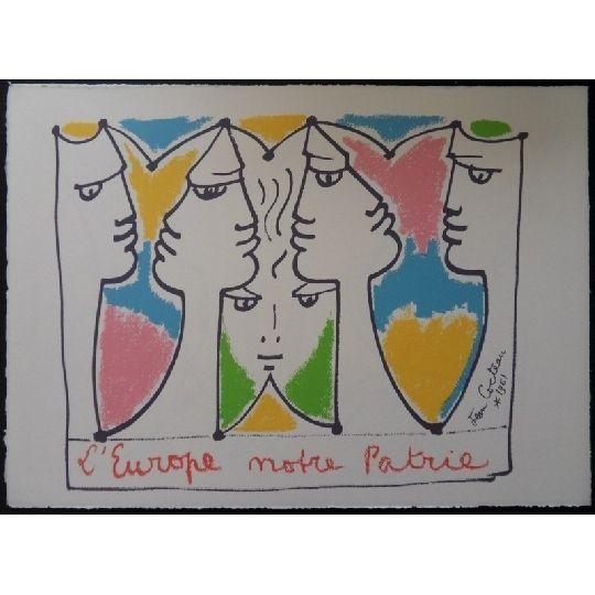 Lithograph Cocteau - L'Europe pont des civilisations