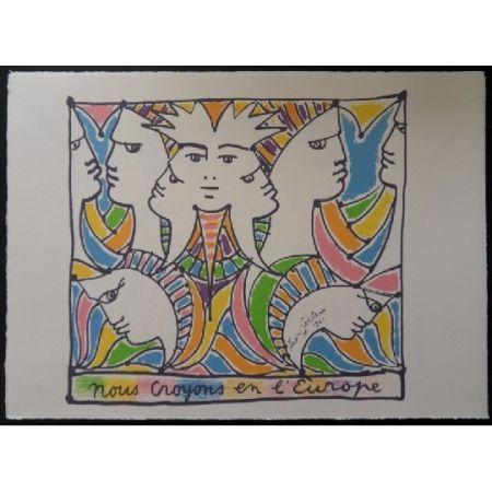 Lithograph Cocteau - L'Europe tournée vers le monde