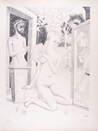 Lithograph Delvaux - L'Eventail