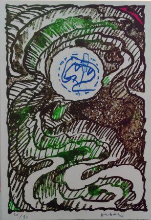 Lithograph Alechinsky - L'excédante 2