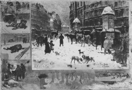 Engraving Buhot - L'hiver e 1879 à Paris