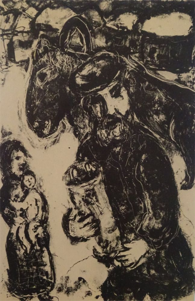 Lithograph Chagall - L'Homme a la Thora