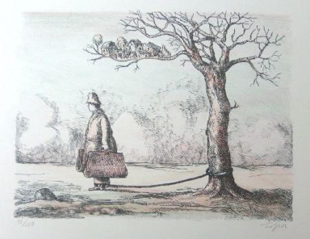 Lithograph Topor - L'homme aux valises