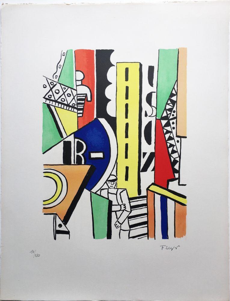 Lithograph Leger - L'HOMME DANS LA VILLE (1959).