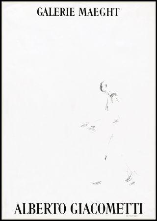 Lithograph Giacometti - L'HOMME QUI MARCHE (1957). Affiche lithographique pour une exposirion à la Galerie Maeght.