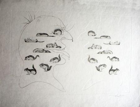 Engraving Dali - L'Homme ressuscité par l'holographie de l'écureuil