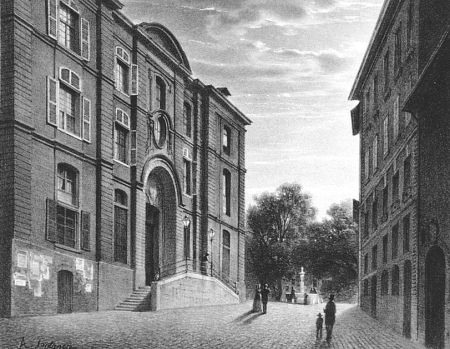 Lithograph Fontanesi - L'Hopital