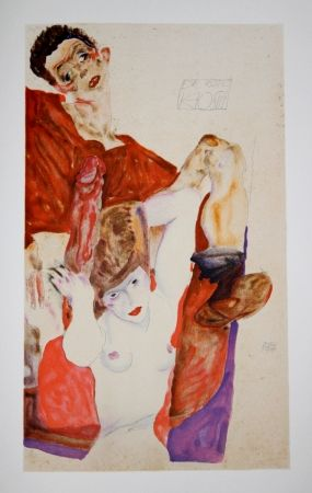 Lithograph Schiele - L'HOTE ROUGE / The RED HOST - Lithographie / Lithograph - 1911