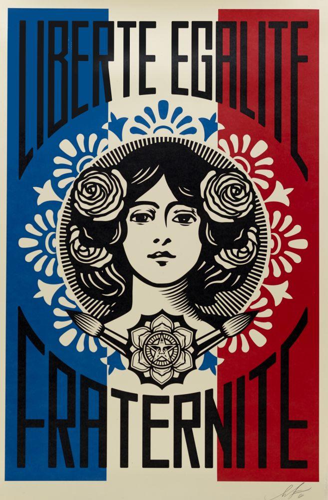 Lithograph Fairey - Liberté, Egalité, Fraternité