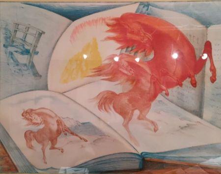Lithograph Sassu - Libri e cavalli
