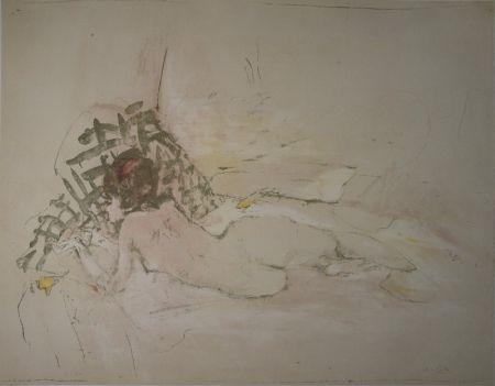 Lithograph Falk - Liegender Akt