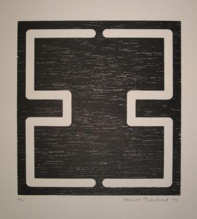Woodcut Bosshard - Liegendes H
