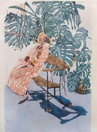 Lithograph Szafran - Lilette à la chaise de Gaudi,