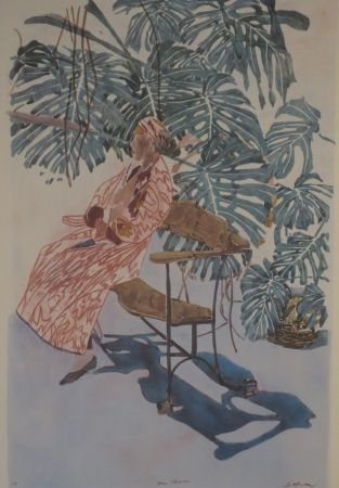 Lithograph Szafran - Lilette à la chaise de Gaudi.