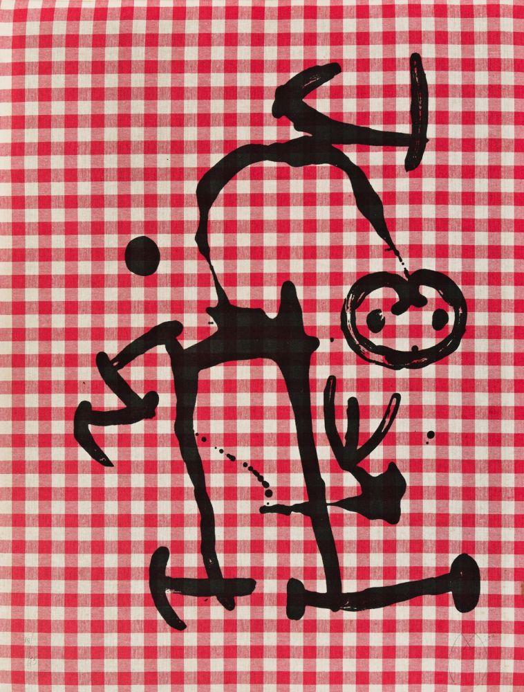 Lithograph Miró - L'Illetre aux Carreaux Rouges