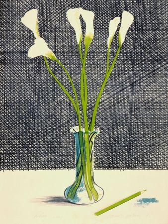 Lithograph Hockney - Lillies (Still Life)