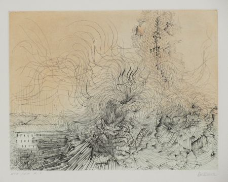 Etching And Aquatint Bellmer - L'incendie
