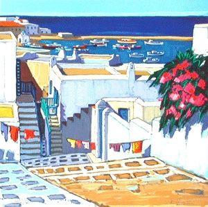 Lithograph Quilici - Linge au soleil a mykonos